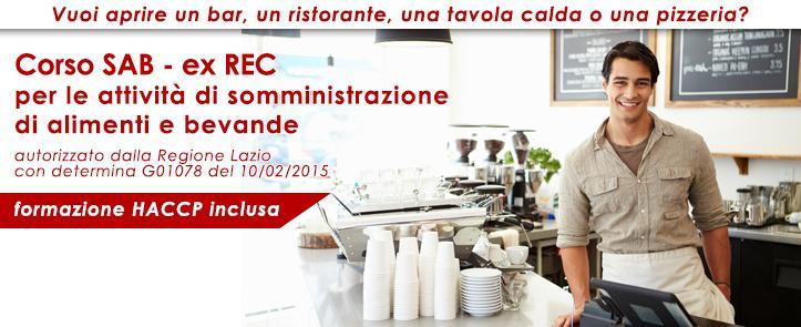Corso SAB-ExREC per la somministrazione di alimenti e bevande – comprensivo di corso HACCP – ExREC03.16