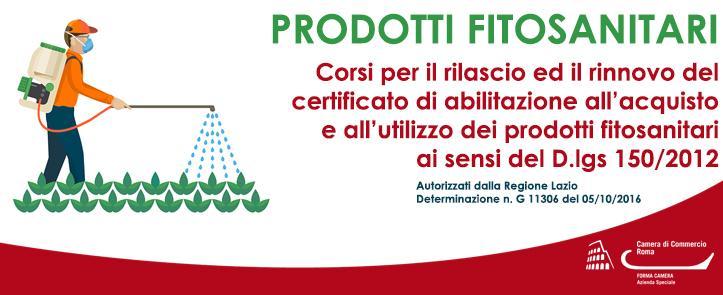 Corsi per il rilascio ed il rinnovo del certificato di abilitazione all'acquisto e all'utilizzo dei prodotti fitosanitari ai sensi del D.lgs 150/2012 – FIT01.18