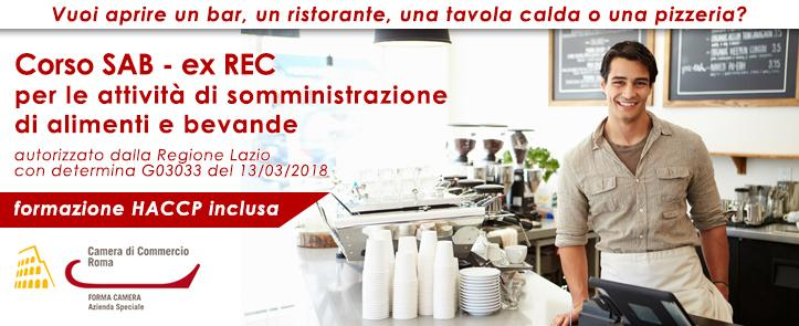 Corso SAB-ExREC per la somministrazione di alimenti e bevande – comprensivo di corso HACCP – ExREC02.18