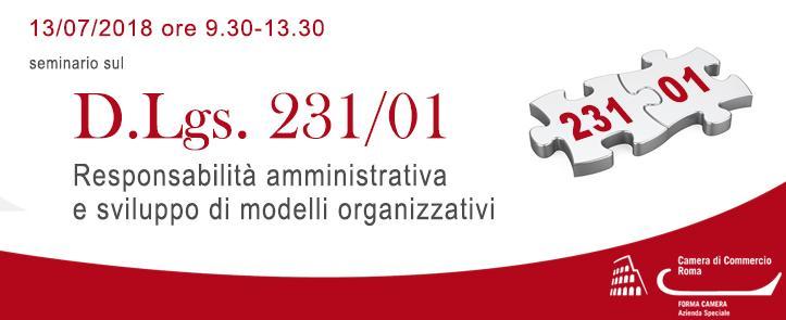 """Seminario """"D.Lgs. 231/01: Responsabilità amministrativa e sviluppo di modelli organizzativi"""" – RASMO01.18"""
