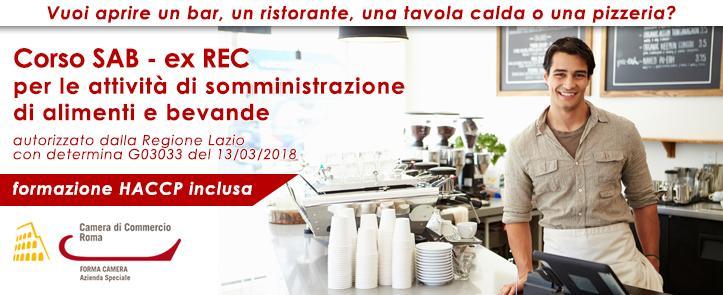 Corso SAB-ExREC per la somministrazione di alimenti e bevande – comprensivo di corso HACCP – ExREC01.19