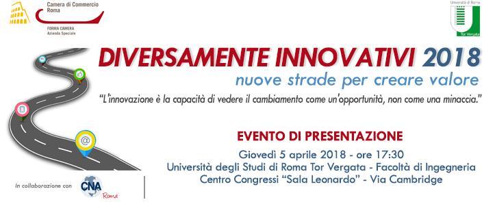 """5 Aprile 2018 – Presentazione del progetto """"Diversamente Innovativi 2018 – Nuove strade per creare valore"""""""