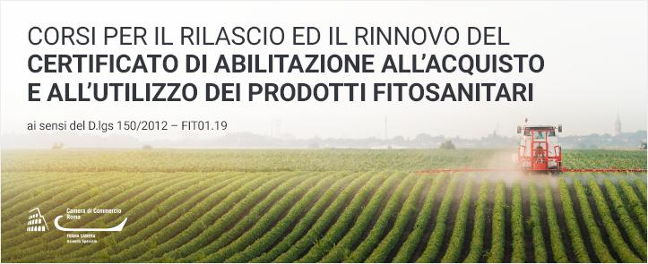 Corsi per il rilascio ed il rinnovo del certificato di abilitazione all'acquisto e all'utilizzo dei prodotti fitosanitari ai sensi del D.lgs 150/2012 – FIT01.19